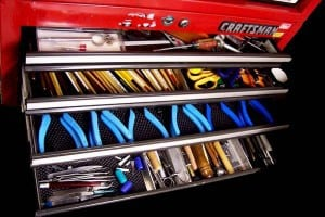 A tool chest provides dust free Xuron tools storage.