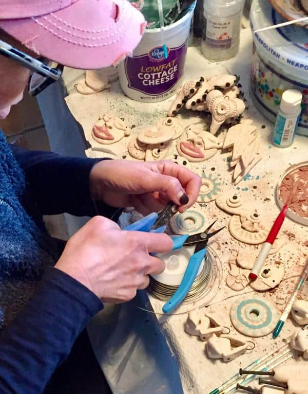 Marianne Kasparian creating ceramic raku jewelry