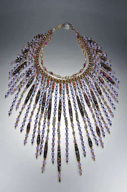 Swarovski and silk necklace by Kristal Wick