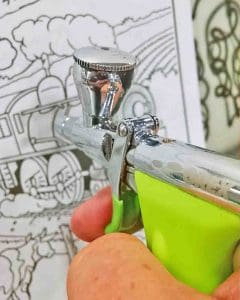 Practice your airbrush scale model painting skills with a coloring book.