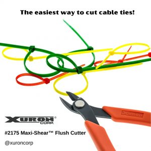 The Xuron® Model 2175 cuts cable ties.