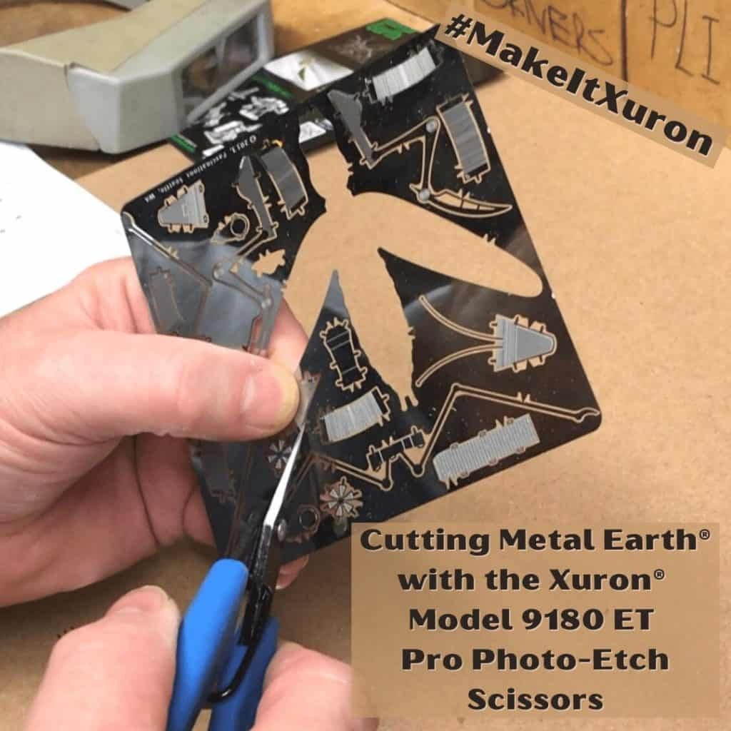 Cutting Metal Earth® with the Xuron® Model 9180 ET Pro Photo-Etch Scissors.